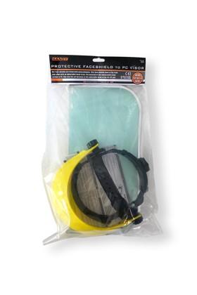 Handy arcpajzs cserélhető, fémkeretes, felhajtható plexivel - Arcpajzs - 1 db - Sárga