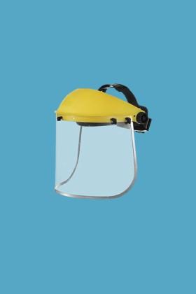 Prémium arcpajzs cserélhető, fémkeretes, felhajtható plexivel - 1 db - Sárga