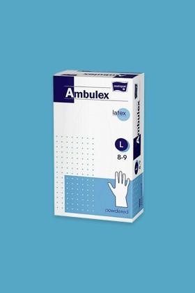 Ambulex Latex egyszerhasználatos kesztyű, púderezett - Latex kesztyű - 100 db - Fehér - L