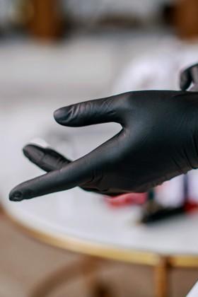 Prémium minőségű CE 2777 nitril kesztyű - 100 db - Fekete