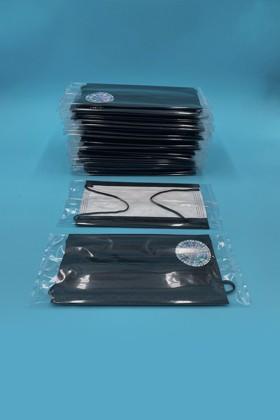 Háromrétegű egészségügyi arcmaszk - egyesével csomagolva - Fekete - 50 db