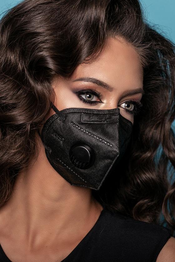 Legal Beauty FFP2 (N95/KN95) 6 rétegű maszk - szelepes - fekete - 5 db - Fekete