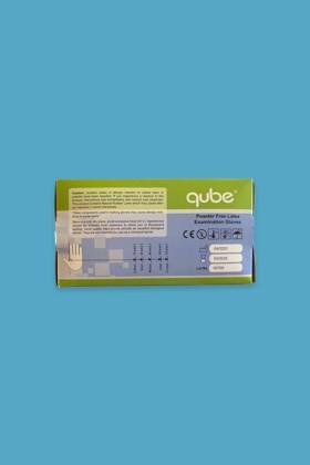 QUBE - Púdermentes latex kesztyű - Latex kesztyű - 100 db - Fehér - M
