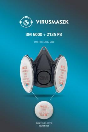 3M 6100-6300 félálarc + 3M 2135 P3 (FFP3) szűrőbetét