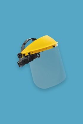 Prémium arcpajzs cserélhető, felhajtható plexivel - 1 db - Sárga