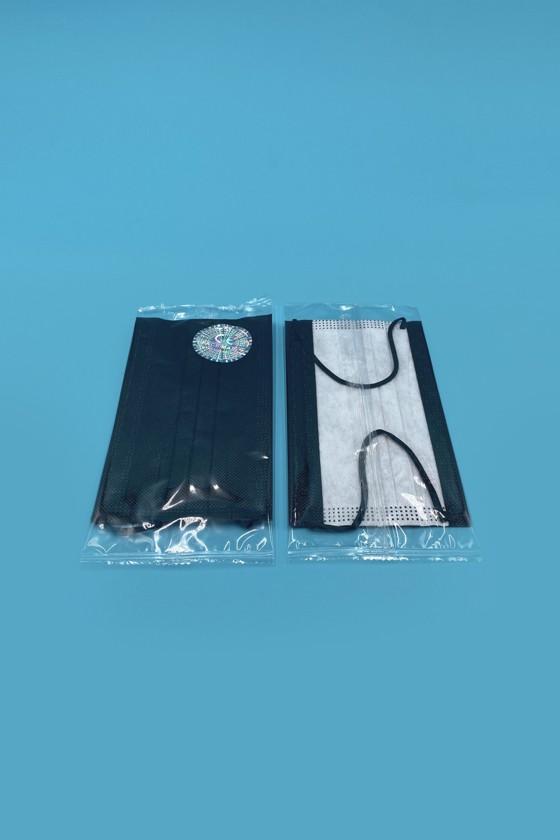Háromrétegű egészségügyi arcmaszk - egyesével csomagolva - Fekete - Arcmaszk - 50 db - Fekete