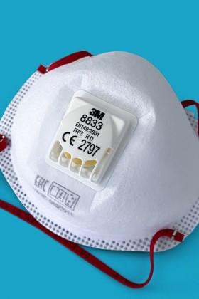3M 8833 FFP3 RD légzésvédő maszk - szelepes - Arcmaszk - 10 db - Fehér