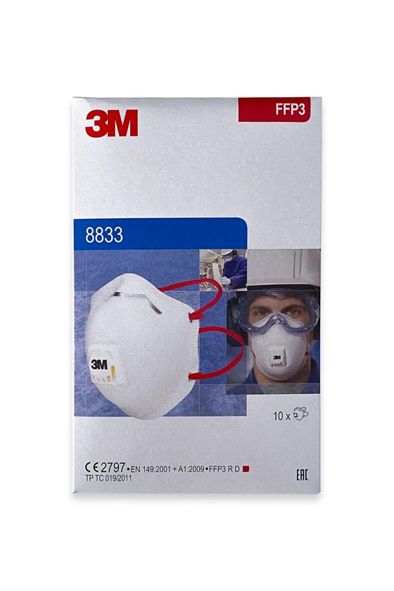 3M 8833 FFP3 légzésvédő maszk - szelepes - Arcmaszk - 10 db - Fehér
