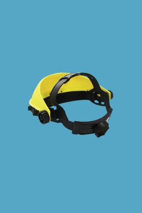 Prémium arcpajzs cserélhető, fémkeretes, felhajtható plexivel - Arcpajzs - 1 db - Sárga