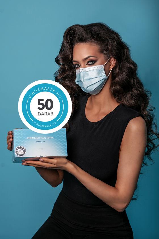 Háromrétegű egészségügyi arcmaszk - 1 x 50 db-os doboz - Kék