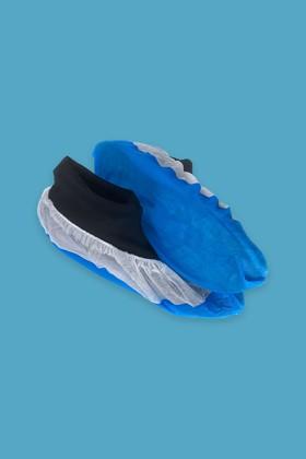 Erősített talpú cipővédő - fehér-kék - 100 db