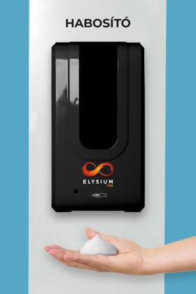 Elysium Pro professzionális, érintésmentes, 1200 ml-es adagoló - Habosító szappan - Fehér állvánnyal - Fekete