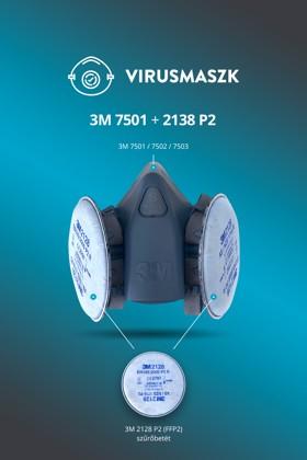 3M 7501-7503 félálarc + 3M 2128 P2 (FFP2) szűrőbetét