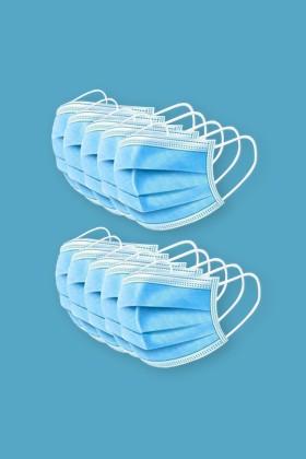 Háromrétegű egészségügyi arcmaszk visszazárható tasakban - Arcmaszk - 10 db - Kék