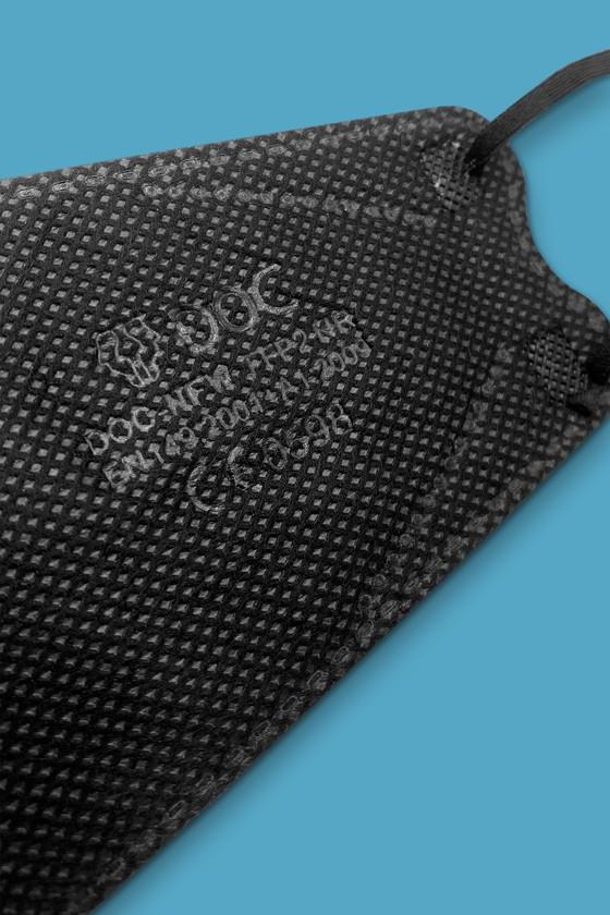 DOC FFP2 CE 0598 ergonomikus maszk - FFP2 maszk - 10 db - Fekete - Szelep nélküli