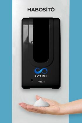 Elysium professzionális, érintésmentes, 1200 ml-es adagoló - Habosító szappan - Fehér állvánnyal - Fekete