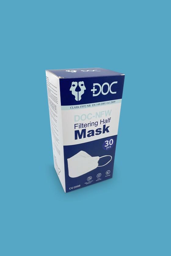 DOC NFW FFP2 CE 0598 ergonomikus maszk - FFP2 maszk - 30 darab - Fehér - Szelep nélküli
