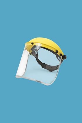 Handy arcpajzs cserélhető, fémkeretes, felhajtható plexivel - 1 db - Sárga