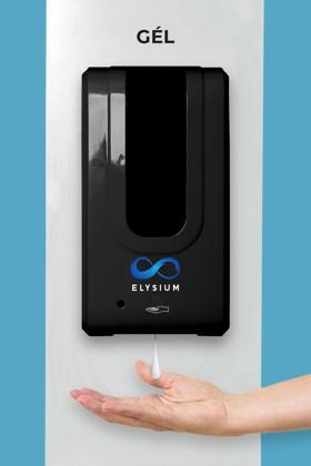 Elysium professzionális, érintésmentes, 1200 ml-es adagoló - Gél - Fehér állvánnyal - Fekete