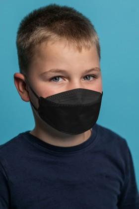 KN95/FFP2 ergonomikus 5 rétegű fekete szelep nélküli maszk - 10 db - Gyermek - Fekete