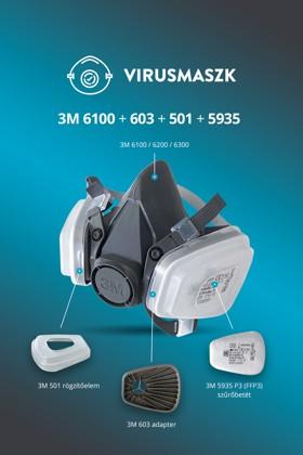 3M 6100-6300 félálarc + 3M 603 + 3M 501 + 3M 5935 P3 (FFP3) szűrőbetét
