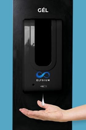 Elysium professzionális, érintésmentes, 1200 ml-es adagoló - Gél - Fekete állvánnyal - Fekete