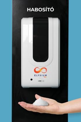 Elysium Pro professzionális, érintésmentes, 1200 ml-es adagoló - Habosító szappan - Fekete állvánnyal - Fehér