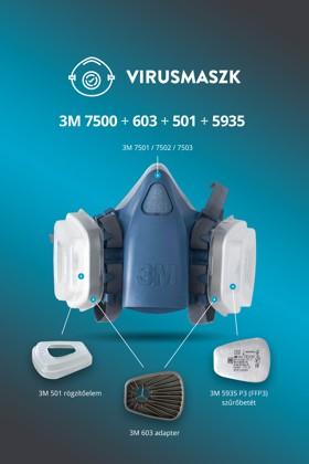 3M 7501-7503 félálarc + 3M 603 + 3M 501 + 3M 5935 P3 (FFP3) szűrőbetét