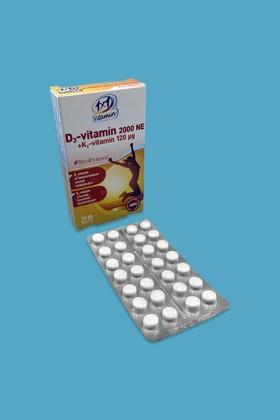 1×1 Vitamin D3-vitamin 2000 NE + K2-vitamin 120 μg BioPerine®-nel filmtabletta - 1x28 szem - 1 db
