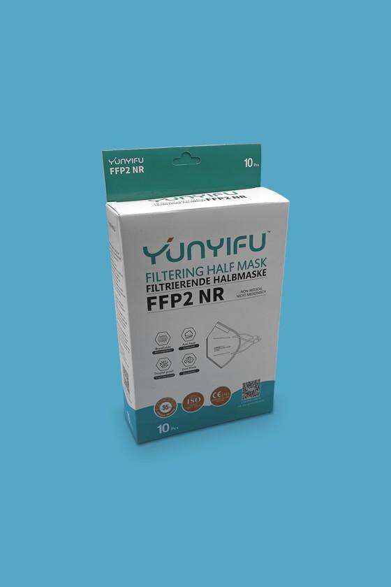 YunYifu FFP2 CE 2163 arcmaszk - FFP2 maszk - 10 db - Fehér - Szelep nélküli