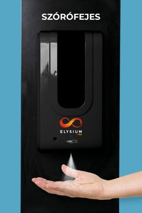 Elysium Pro professzionális, érintésmentes, 1200 ml-es adagoló - Szórófejes folyadék - Fekete állvánnyal - Fekete