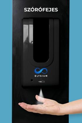Elysium professzionális, érintésmentes, 1200 ml-es adagoló - Szórófejes folyadék - Fekete állvánnyal - Fekete