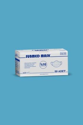 Submed 3-rétegű, egyszer használatos sebészeti arcmaszk - 3-rétegű arcmaszk - 50 db - Kék - Felnőtt