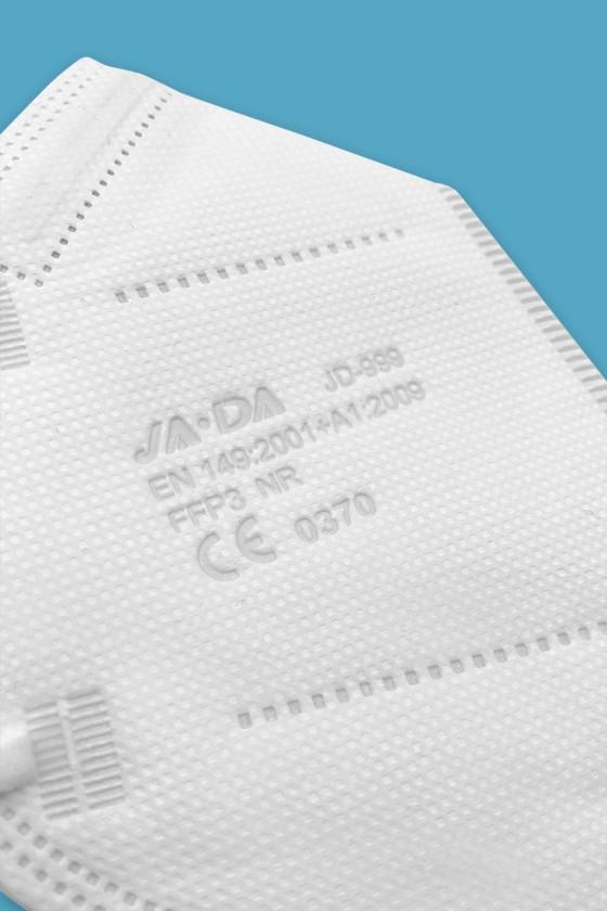 Jada 7-rétegű FFP3 CE 0370 - FFP3 maszk - 5 db - Fehér - Szelep nélküli