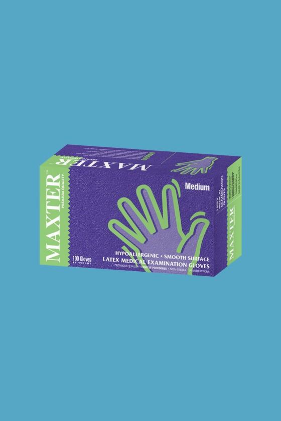 Maxter orvosi vizsgálókesztyű - Latex kesztyű - 100 db - Fehér - L