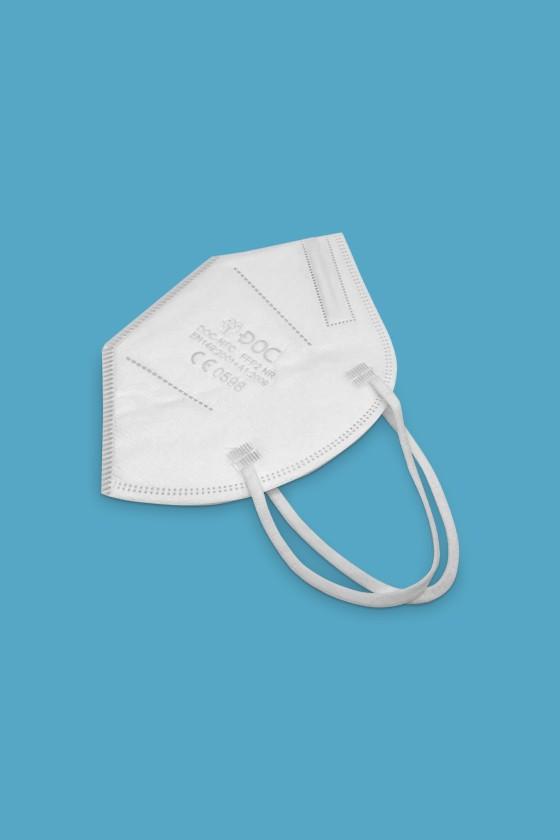 DOC NFC fülpántos FFP2 CE 0598 fehér maszk - FFP2 maszk - 50 db - Fehér - Szelep nélküli