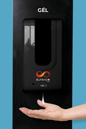 Elysium Pro professzionális, érintésmentes, 1200 ml-es adagoló - Gél - Fekete állvánnyal - Fekete