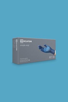 Mercator vinyl púdermentes áttetsző professzionális kék kesztyű - 100 db - L - kék