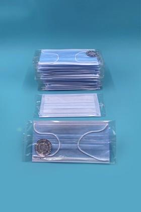 Háromrétegű egészségügyi arcmaszk - egyesével csomagolva - 50 db - Kék