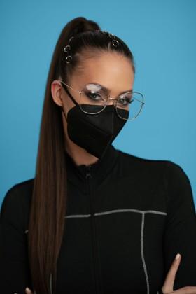 Jiada FFP2 CE 0370 szelep nélküli fekete maszk - 10 db - fekete