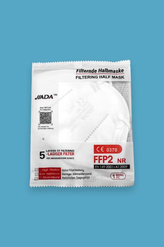 Jiada FFP2 CE 0370 - FFP2 maszk - 10 db - Fehér - Szelep nélküli