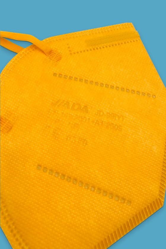 Jiada FFP2 CE 0370 - FFP2 maszk - 10 db - Sárga - Szelep nélküli