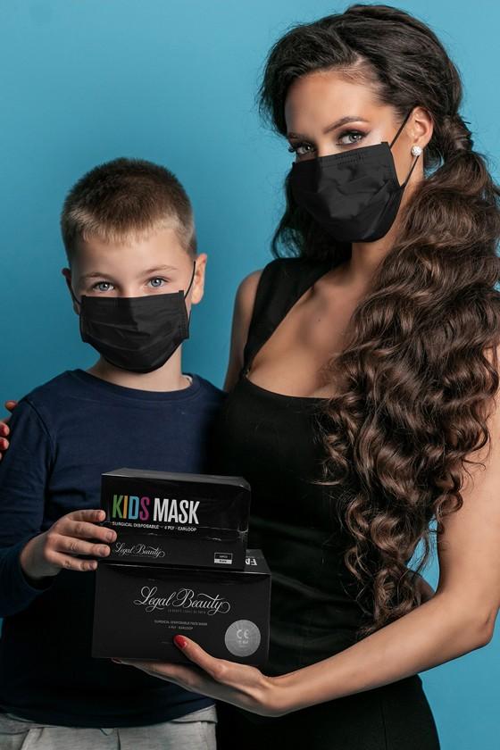 Legal Beauty 4 rétegű egészségügyi arcmaszk - 4 rétegű arcmaszk - 50 db - Fekete - Felnőtt