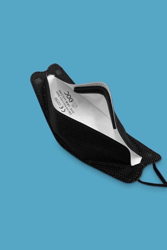 DOC FFP3 CE 0598 ergonomikus maszk - FFP3 maszk - 5 db - Fekete - Szelep nélküli