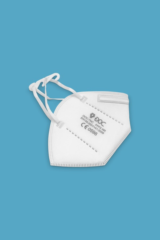 DOC TNC fülpántos FFP3 CE 0598 fehér maszk - FFP3 maszk - 40 db - Fehér - Szelep nélküli