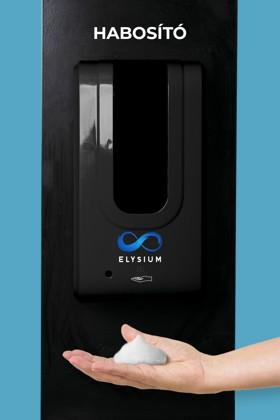 Elysium professzionális, érintésmentes, 1200 ml-es adagoló - Habosító szappan - Fekete állvánnyal - Fekete