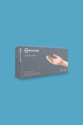 Mercator vinyl púdermentes áttetsző professzionális kesztyű - 100 db - M - áttetsző