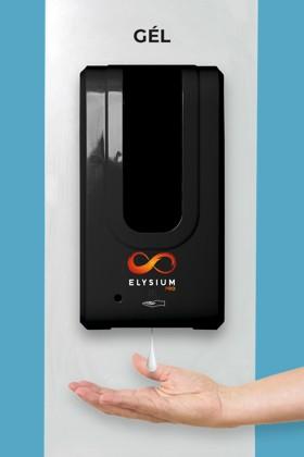 Elysium Pro professzionális, érintésmentes, 1200 ml-es adagoló - Gél - Fehér állvánnyal - Fekete